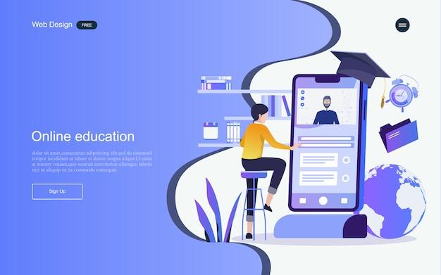 Koncepcja edukacji do nauki online, szkoleń i kursów. szablon strony docelowej.