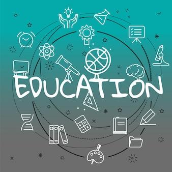 Koncepcja edukacji. dołączono różne ikony cienkich linii