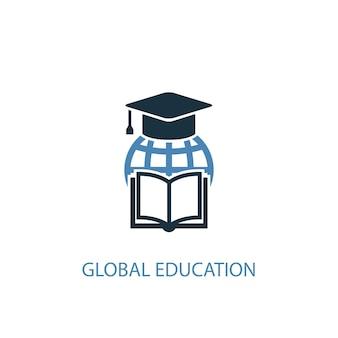 Koncepcja edukacji globalnej 2 kolorowa ikona. prosta ilustracja niebieski element. projekt symbolu koncepcji edukacji globalnej. może być używany do internetowego i mobilnego interfejsu użytkownika/ux