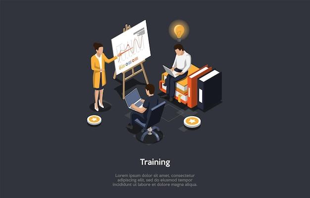 Koncepcja edukacji. głośnik pokazuje planszę z infografiką. męskie postacie za pomocą laptopów na treningu. jeden z nich ma pomysł w kształcie żarówki