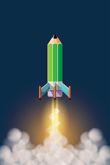 Koncepcja edukacji ilustracja kreskówka. edukacja pomaga nam iść dalej i szybciej, jak zabranie ołówkowej rakiety w piękny kosmos.