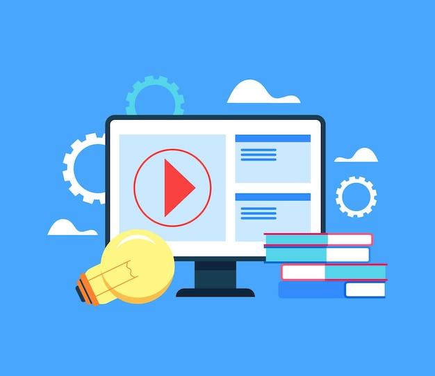 Koncepcja edukacji internetowej online. kreskówka