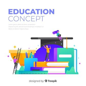 Koncepcja edukacji kolorowy z płaska konstrukcja