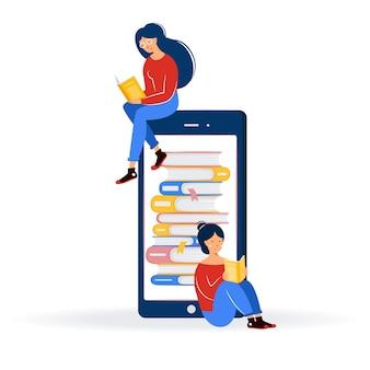 Koncepcja edukacji online. dziewczyny siedzą na dużym telefonie komórkowym, stos książek na ekranie. biblioteka internetowa