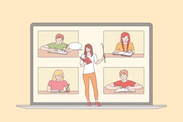 Koncepcja edukacji online i e-learningu. ekran laptopa z młodą nauczycielką oraz uczniami siedzącymi i uczącymi się, słuchając kursu lekcyjnego online