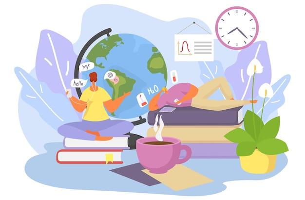Koncepcja edukacji online, ilustracji wektorowych. mieszkanie malutkich ludzi uczących się znaków uczących się w internecie, technologii komputerowej do nauki wiedzy. kobieta uczy się języka, mężczyzna szkoli chemię.