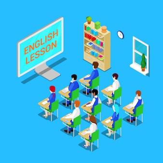 Koncepcja edukacji online. izometryczna klasa z uczniami na lekcji angielskiego. ilustracji wektorowych