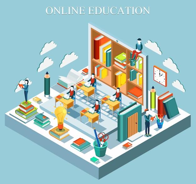 Koncepcja edukacji online. izometryczny projekt płaski. .