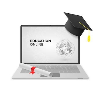 Koncepcja edukacji online. laptop z czapką i dyplomem ukończenia szkoły.