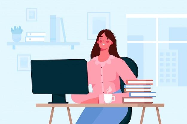 Koncepcja edukacji online lub pracy zdalnej. uczeń uczący się, pracujący online w domu