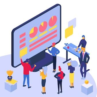 Koncepcja edukacji online, malutcy ludzie i ogromna ilustracja na ekranie komputera.
