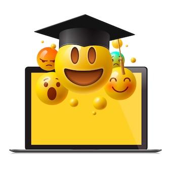 Koncepcja edukacji online. materiały edukacyjne, kursy online, kształcenie na odległość, studia wyższe, kapelusz dyplomowy, samouczki e-learningowe, ilustracja