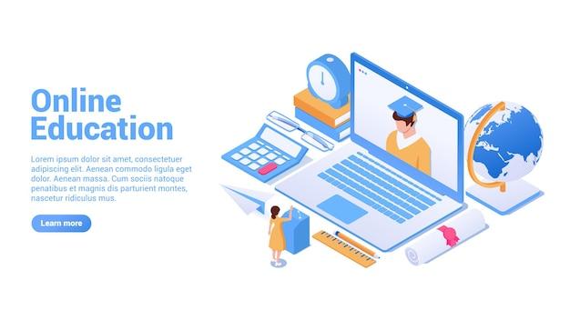 Koncepcja edukacji online strona docelowa lub koncepcja banera internetowego edukacja na odległość dla wszystkich online