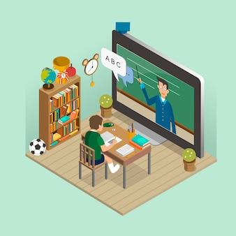 Koncepcja edukacji online w 3d izometrycznej płaskiej konstrukcji
