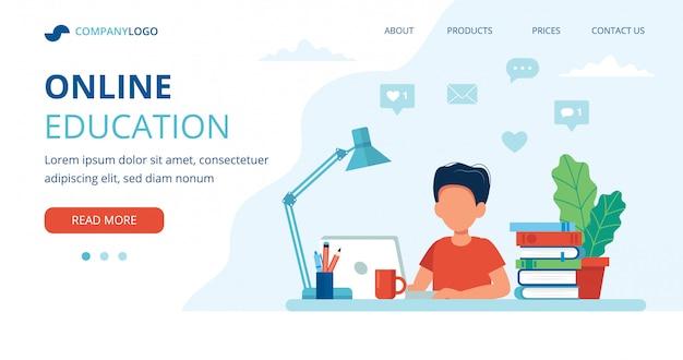 Koncepcja edukacji online z chłopcem, komputerem, lampą i książkami.