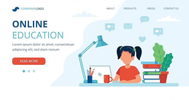 Koncepcja edukacji online z dziewczyną, komputerem, lampą i książkami.