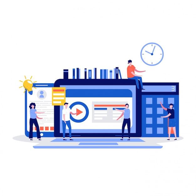 Koncepcja edukacji online z postaciami uczniów.