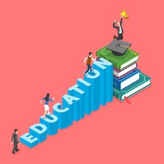 Koncepcja edukacji płaski izometryczny.