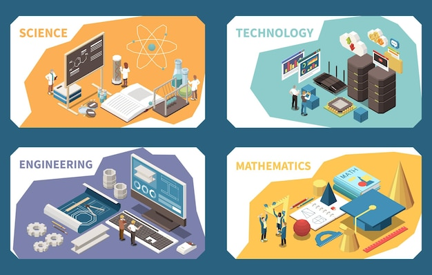 Koncepcja edukacji stem izometryczne karty kompozycji z lekcją inżynierii oprogramowania matematyki kształty geometryczne