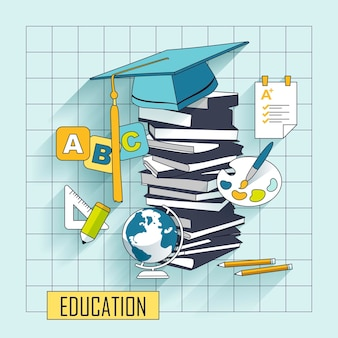 Koncepcja edukacji z elementem czapki ukończenia szkoły w stylu linii