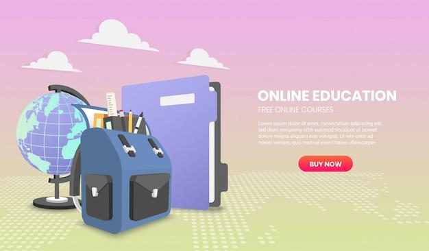 Koncepcja edukacji z koncepcjami ilustracji szkolnego plecaka i pliku dla strony internetowej i telefonu komórkowego.