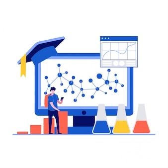 Koncepcja edukacji z postaciami stojącymi w pobliżu ekranu komputera.