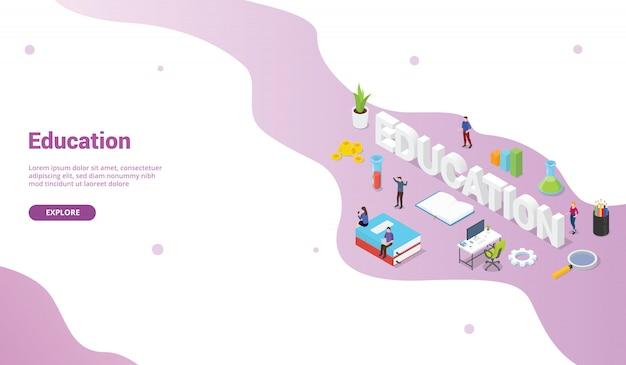 Koncepcja edukacji z wielkim tekstem słowa na szablonie strony internetowej lub baner strony startowej z izometrycznym stylu płaskiego