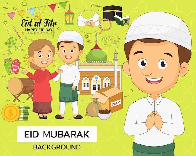 Koncepcja eid mubarak. płaskie ikony.