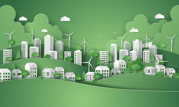 Koncepcja ekologiczna i zielona moc z miastem. ilustracja wektorowa cięcia papieru