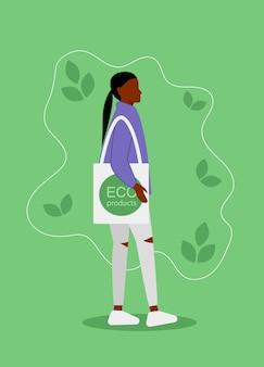 Koncepcja ekologicznego stylu życia african american kobieta robi zakupy bez plastikowych zanieczyszczeń. zero szablonu odpadów dla ekologii, oszczędzania środowiska