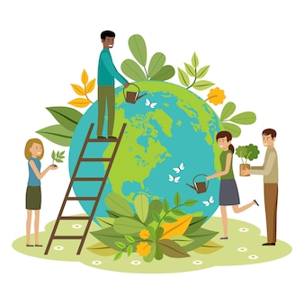 Koncepcja ekologii. ludzie dbają o planetę. chroń naturę. dzień ziemi. kula ziemska z roślinami i ochotnikami