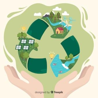 Koncepcja ekologii płaski kształt z naturalnych elementów