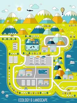 Koncepcja ekologii: urocze miasto w stylu linii