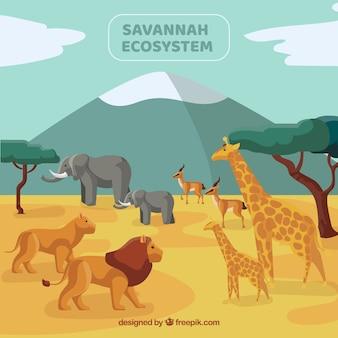Koncepcja ekosystemu savannah z dzikimi zwierzętami