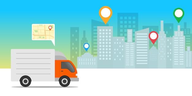 Koncepcja ekspresowej dostawy. ciężarówka dostawcza z aplikacją mobilną lokalizacji.