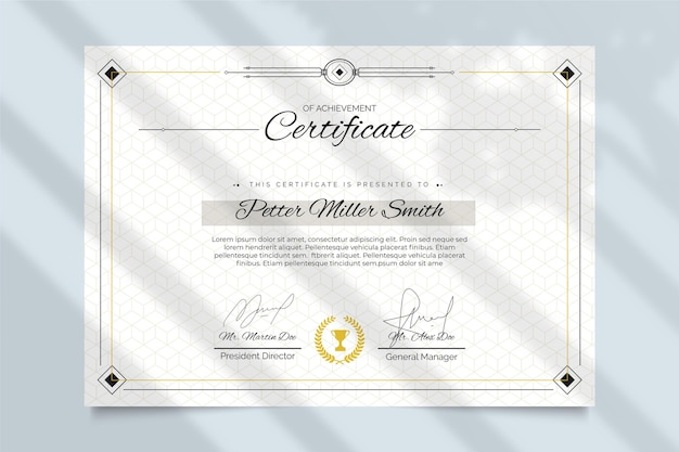 Koncepcja elegancki szablon certyfikatu