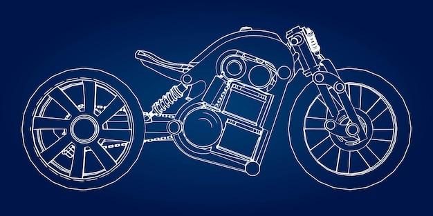 Koncepcja elektrycznego motocykla przyszłości. ilustracja wektorowa w linie konturowe.