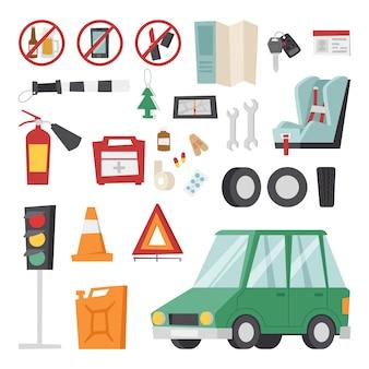 Koncepcja elementów usługi jazdy samochodem z płaskimi ikonami i sprzętem mechanicznym.