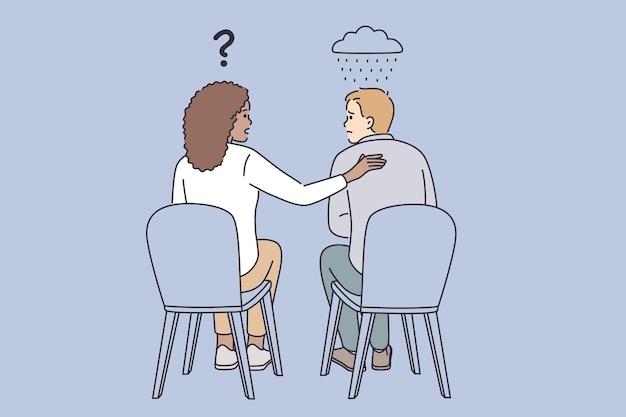 Koncepcja empatii, wsparcia i zrozumienia. młoda uśmiechnięta kobieta siedzi, pocieszając swojego smutnego rozczarowanego przyjaciela, pocieszając i zachęcając swojego kolegi ilustracji wektorowych