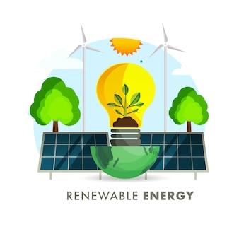 Koncepcja energii odnawialnej z żarówką eco na pół globu, panel słoneczny, wiatrak i drzewo na tle słońca.