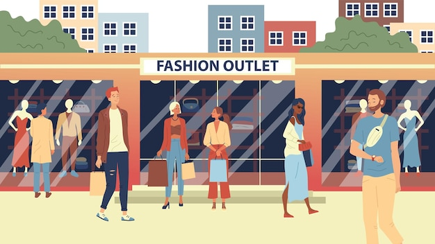 Koncepcja fashion outlet, sklep odzieżowy mass market. ludzie mody, kupujący lub klienci idący ulicą w pobliżu modnych butików z zakupami.
