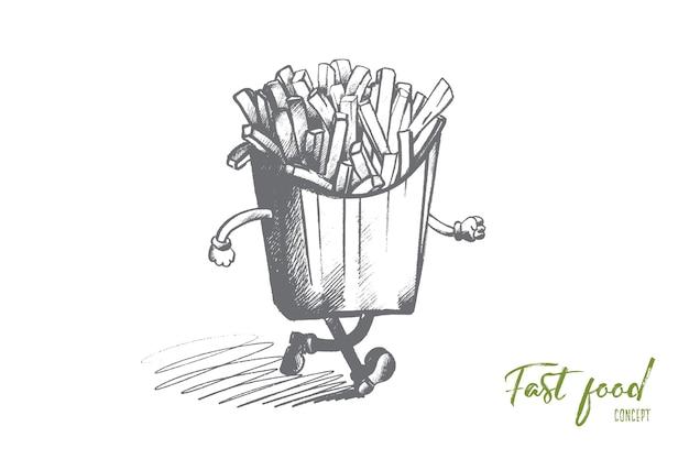 Koncepcja fast food. ręcznie rysowane frytki w papierowym opakowaniu z rękami i nogami. smażone ziemniaki na białym tle ilustracja.