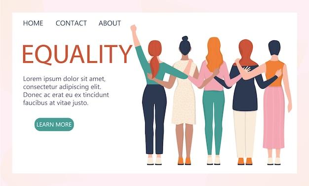 Koncepcja feminizmu. kobiety wspierają baner strony internetowej organizacji lub koncepcję strony docelowej. idea równości płci i ruchu kobiet. interfejs serwisu społecznościowego.