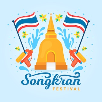 Koncepcja festiwalu songkran płaska konstrukcja