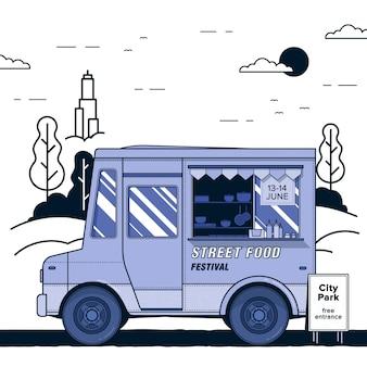Koncepcja festiwalu ulicy żywności. fioletowa ciężarówka z jedzeniem. kolorowa ilustracja.