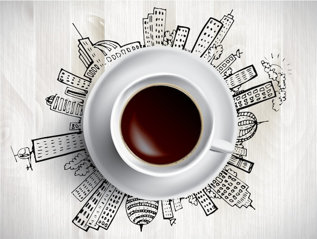 Koncepcja filiżanki kawy - miasto gryzmoły z kubkiem kawy