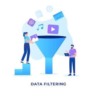 Koncepcja filtrowania danych płaskich ilustracji dla witryn internetowych