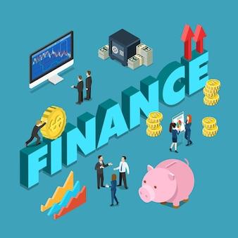 Koncepcja finansów korporacyjnych w stylu płaski izometryczny