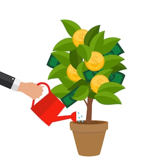 Koncepcja finansowa. drzewo pieniędzy - koncepcja udanego biznesu. ilustracja wektorowa