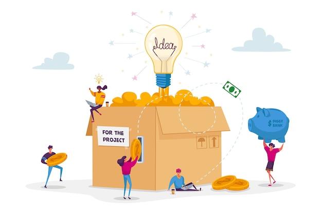 Koncepcja finansowania społecznościowego. malutcy ludzie wkładają złote monety do ogromnego pudełka kartonowego ze świecącą żarówką.